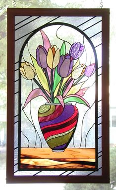 Custom Made Tulips In A Vase - Floral Stained Glass