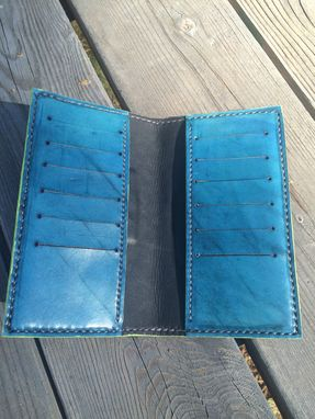 Custom Made Leather Roper Biker Style Seahawks Wallet With Filigree Styling