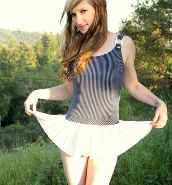 Custom Made Vintage 50s 60s Swimsuit Navy Pin Up Sailor Girl Stripes With Pleated Skirt Bathing Suit One Piece S