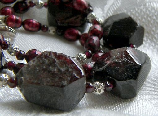 Custom Made Statement Necklace Red Garnet Chunks Rough Nugget Faceted Pearl
