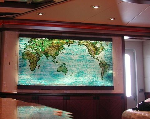 Custom Made Cast Glass World Map With Topography
