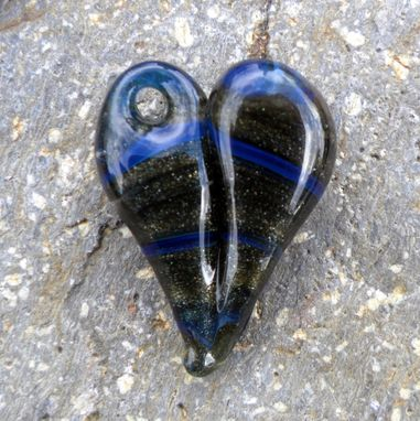 Custom Made Hand Blown Heart Necklace Glass Jewelry Pendant Lampwork Boro Heart Sparkling Green Blue