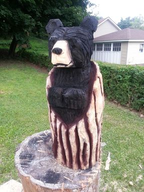 Custom Made Chainsaw Carved Black Bear In A Log