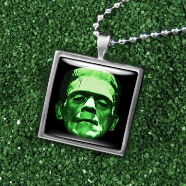 Custom Made Frankenstein Silver Horror Pendant Necklace 85-Ssn