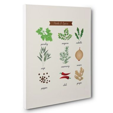 Custom Made Herbs And Spices Kitchen Canvas Wall Art