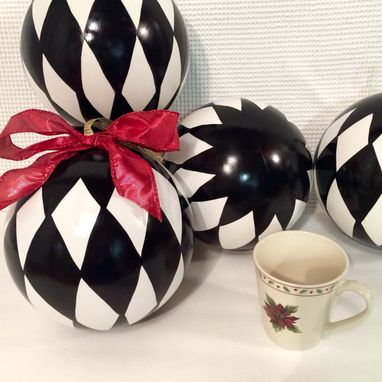 Custom Made Christmas Tree Ornament // Jumbo Harlequin Ornament // Whimsical Painted Ornament Harlequin