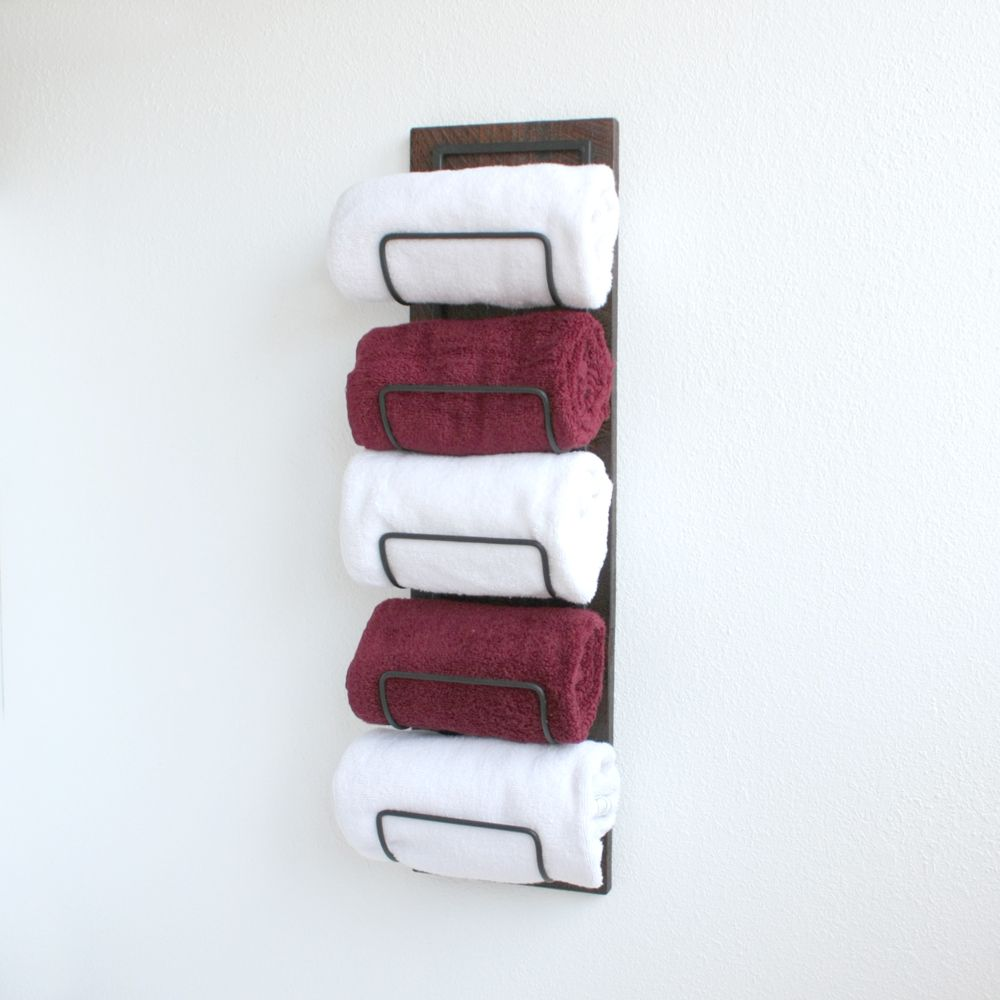 Buy Hand Crafted Wall Mounted Towel Rack - Towel Storage For Rolled ...
