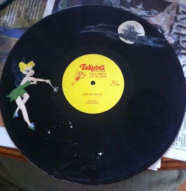 Custom Made Upcycled Hand Painted Vinyl Record - Tinkerbell