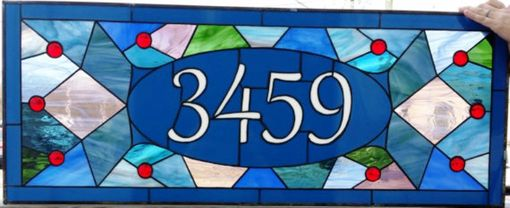 "Custom Made Stained Glass Address Marker - ""Victorian Mosaic"" (Am-160)"