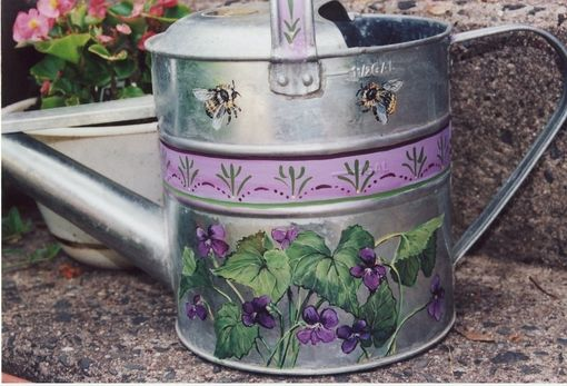 Custom Made Painted Florals On Small Items Like Lazy Susans Or Watering Cans