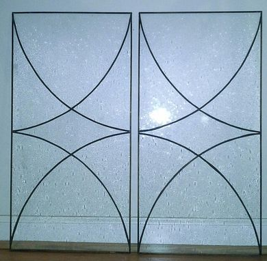 "Custom Made Stained Glass Cabinet Inserts - ""Split Star"" (Ci-13)"