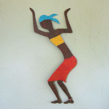 Custom Made Art Wall Sculpture Caribbean Dancer Upcycled Metal Wall Decor African Wall Art