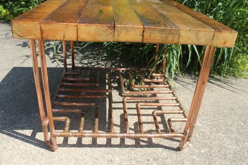 "Custom Made Reclaimed, Old Growth 2x4 & Copper Pipe ""Cross"" End Table"