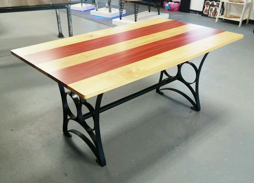Custom Made Solid Padauk And Yellow Heart Wood Dining Table With Metal Base