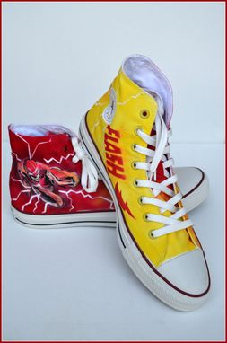 "Custom Made Hand Painted Mens Shoes, Painted Converse, ""The Flash"" Shoes, Unisex Converse, ""The Flash"" Converse"