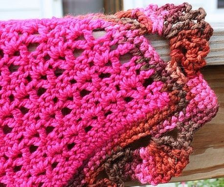 Custom Made Pink Crochet Baby Blanket Shell Border Warm Hot Pink