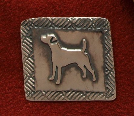 Custom Made Jack Russell Pin - Medium With Baskset Weave Border