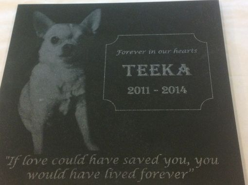 "Custom Made 12"" Pet Memormial Granite Tile"