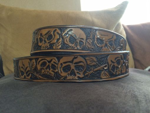 Custom Made Biker Leather Belt With Skulls And Barbed Wire