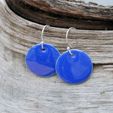 Custom Made Enamel Earrings, Silver Disc, Enameled Jewlery, Round Small Cobalt Blue