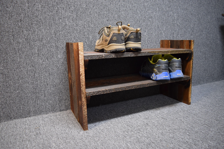 Buy a Handmade Barn Wood Shoe Rack made to order from Montana Stone
