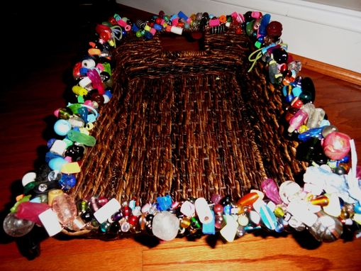 Custom Made Eraser Beaded Wicker Basket W/Handmade Glass Beads