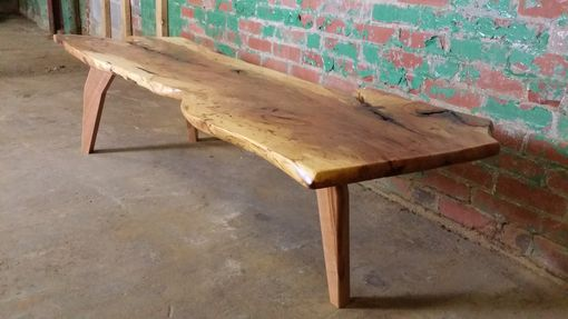 Custom Made Stunning Live-Edge Spalted Pecan Coffee Table With Custom Cherry Legs
