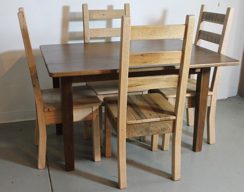Hand Made 100 Oak Chairs From Reclaimed Barn Wood By