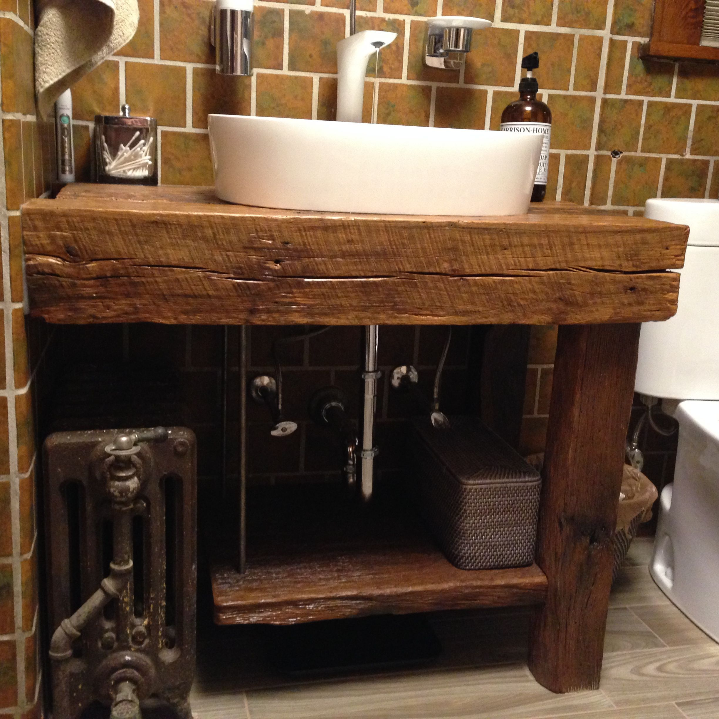 Custom made rustic bath vanity reclaimed barnwood