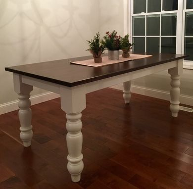 Custom Made Large Turned Leg Farm Table