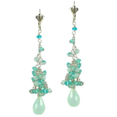 Custom Made Drop Earrings. Silver And Blue Gemstones Apatite Amazonite Aquamarine Chalcedony