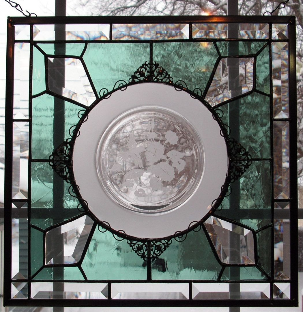 Custom Avon Lead Crystal Hummingbird Plate Stained Glass