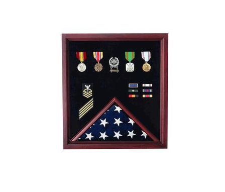 Custom Made Retirement Cherry Medal And Flag Display