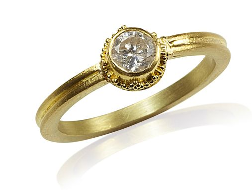 Custom Made Engagement Ring In 22k Gold Granulation