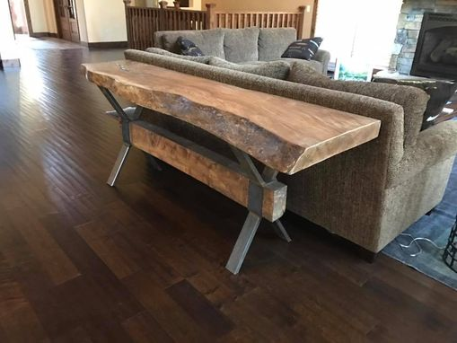 Custom Made Live Edge Walnut Sofa Table Over Hot Rolled Steel