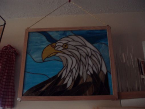 Custom Made Stained Glass Piece Of A Bald Eagle.
