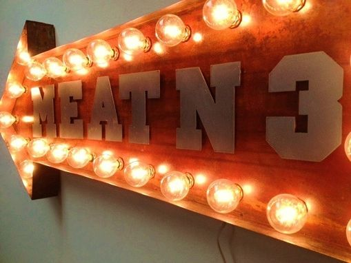 Custom Made Lighting Copper Metal Arrow Meat N 3 Sign