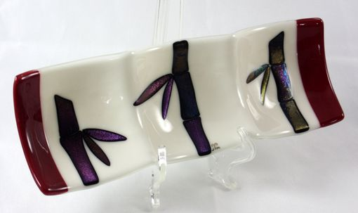 Custom Made Fused Glass Dish With Bamboo Design