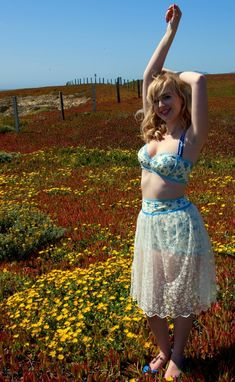 Custom Made Three Piece Playsuit Swimsuit With Lace Skirt In Blue Roses Made To Fit