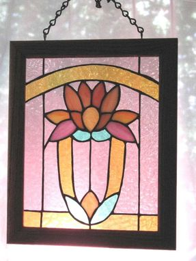 Custom Made Art Deco Lily Stained Glass Window