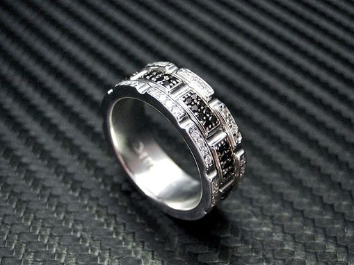 Custom Made Custom Diamond Wedding Band With Black & White Color Stones