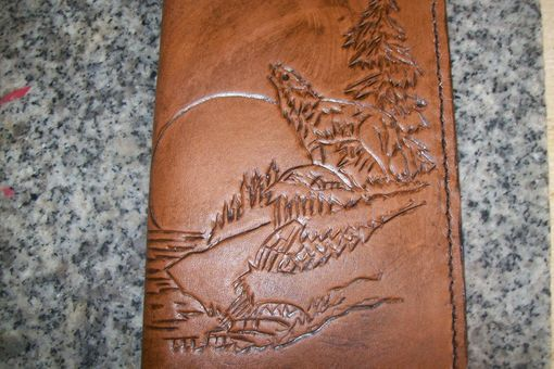 Custom Made Custom Leather Day Planner With Howling Wolf Design