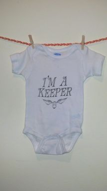 Custom Made Sale Harry Potter Inspired I'M A Keeper & Golden Snitch Onesie, White 6-12 Months, Ready To Ship