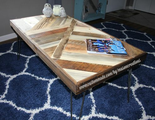 Custom Made Barn Wood Coffee Table Reclaimed Wood, Modern Coffee Table, Industrial Table - Metal Legs
