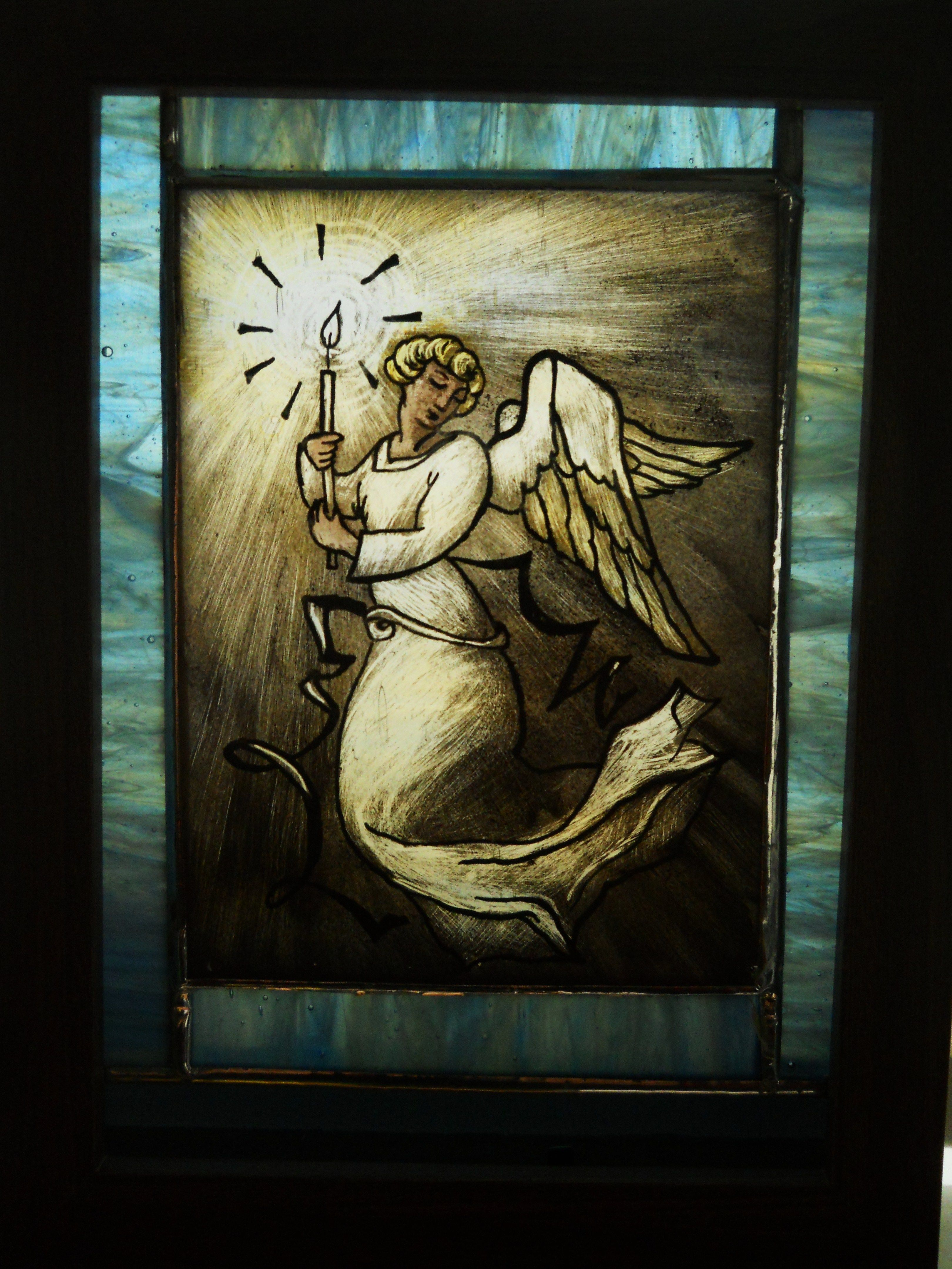 Hand Made Painted Stained Glass Angel Window Panel By Amy