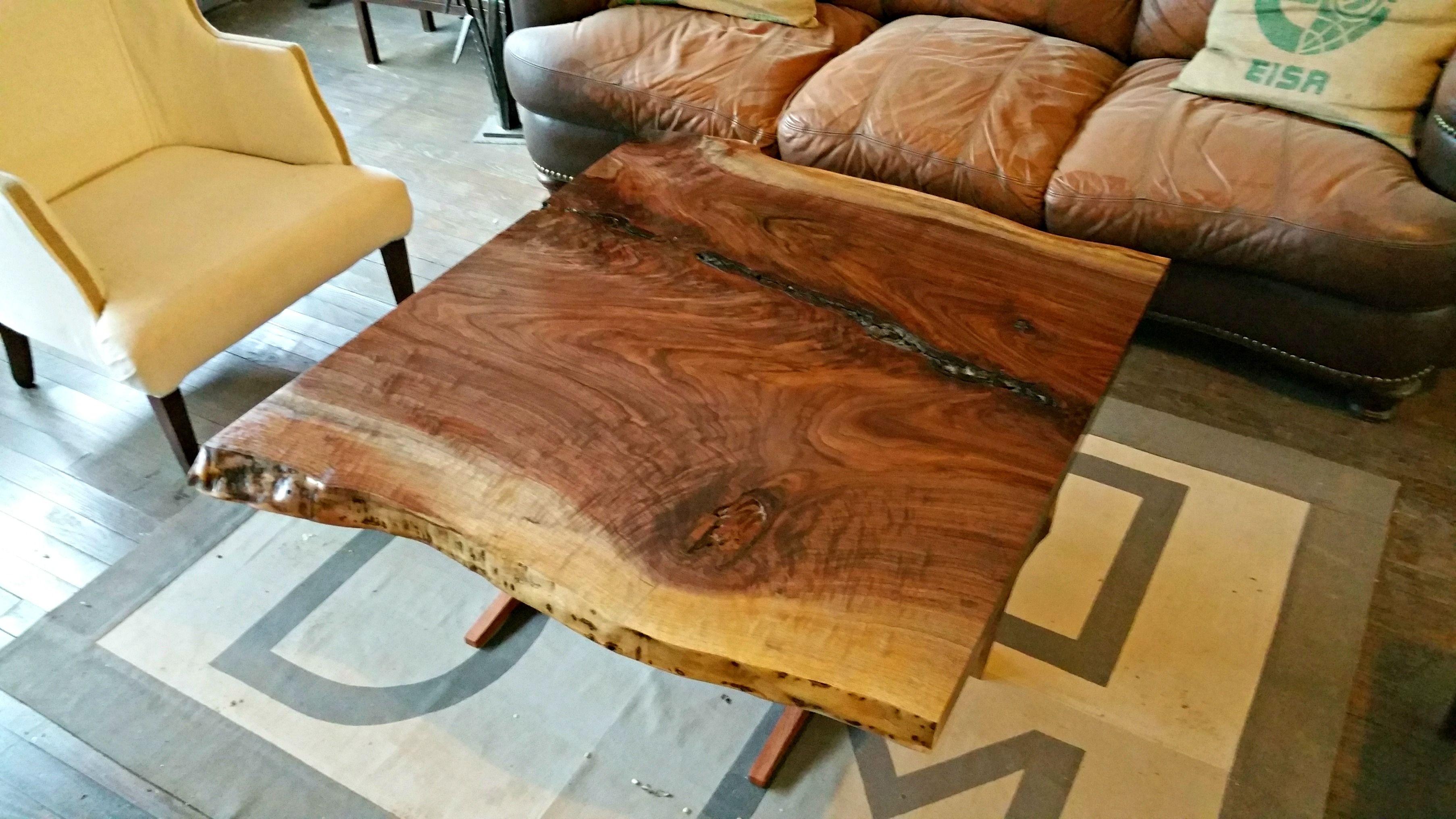 Buy A Custom Live Edge Walnut And Bubinga Coffee Table