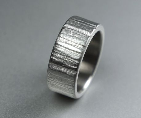 Custom Made Distressed Stainless Steel Ring