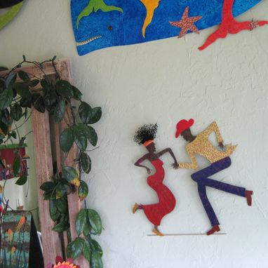 "Custom Made Handmade Upcycled Metal Cajun Dancing Couple Wall Art Sculpture ""Raymond And Geraldine''"