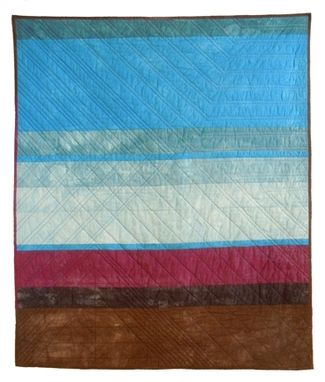 Custom Made Hand-Dyed Landscape Quilt: Iowa In January
