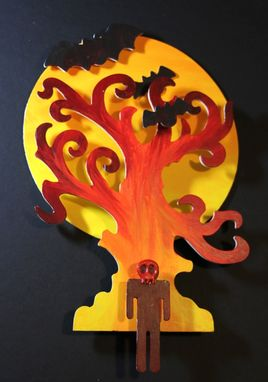 Custom Made Fiery Bright Colorful Bats Tree Moon Skull Halloween Mixed Media Art Wall Decor
